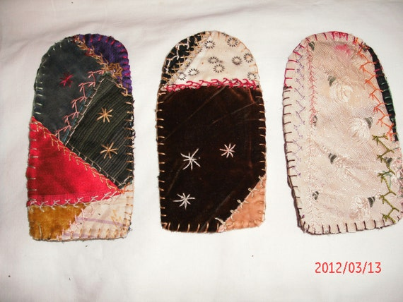1 VINTAGE ANTIQUE CRAZY Quilt eyeglass case fabulous fabrics