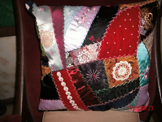 CRAZY QUILT PILLOW Vintage look handmade Turkey track stitching and trims ReduceD 10% coupon