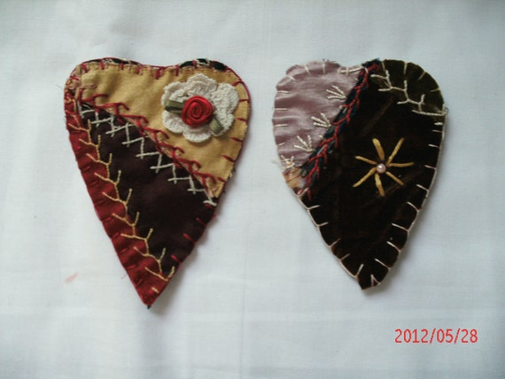 2 VINTAGE CRAZY QUILT magnets applique accessory hearts Ooak Set of two Reduced