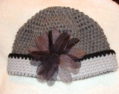 20's Inspired Crochet Hat w/Flower Accent Winter Grey/Black