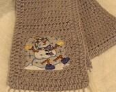 Frolicking Snowman Crochet Scarf