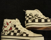Skully Wrenches Checker Flags Tattoo Inspired Custom Designed Shoes