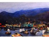 Pastel Painting of Catalina Island at Night
