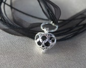 Silver and Black Heart Perfume Locket Pendant  Necklace
