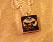 Nightmare Before Christmas Jack and Jack O Lantern Scrabble Tile Necklace