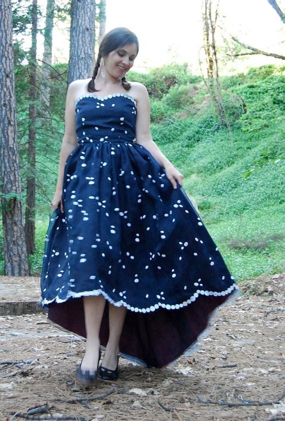 Vintage Polka Dot Dress with Scalloped Fishtail Hem