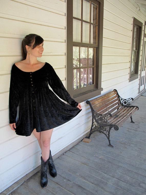90s Black Velvet Baby Doll Dress