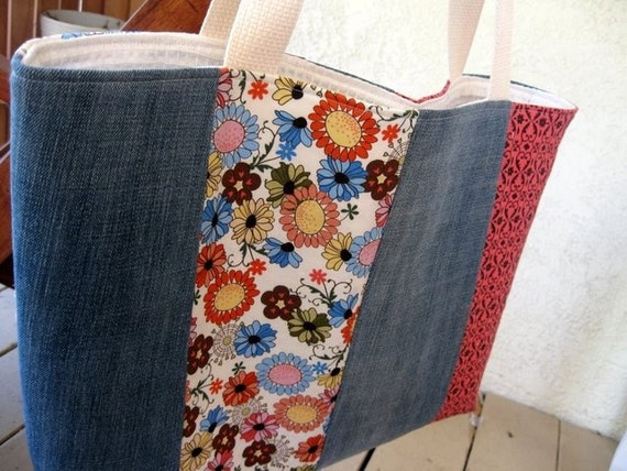 Everyday Bag in Recycled Denim and Flowers - 50 PERCENT OFF