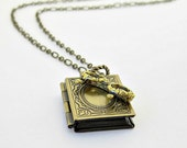FREE SHIPPING CHRISTMAS Sale / Book Locket Reading Glasses Necklace, Book Lover, Librarian, Library, Reader