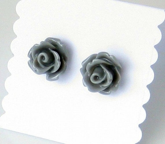 Grey Roses Earrings, Gray, Mini Roses, Resin, Surgical Stainless Steel Earring Posts, Single Rose