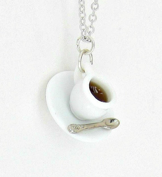 Coffee Cup Necklace, Ceramic Cup and Saucer, Black Coffee, Miniature Silver Spoon