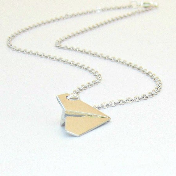 Paper Airplane Necklace, One Direction inspired necklace, Harry Styles Paper Airplane Necklace, UK Boy Band, Unisex, 3-dimensional