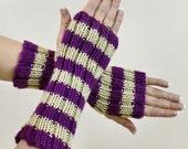 Purple Striped Fingerless Gloves - Tan Grape Hobo Fashion Arm Warmers - Beige Stripes Fingerless Slouch Texting Gloves