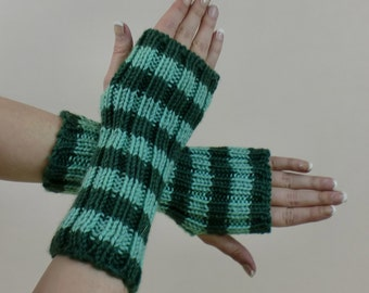 Green Fingerless Gloves - Striped Arm Warmers - Gift for Her - Knit Half Finger Hobo Mittens - Hand Knit Texting Mitts