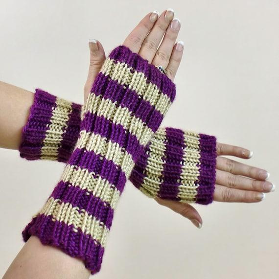 Knit Fingerless Gloves - Purple Striped Winter Arm Warmers - Beige Stripes Fingerless Mittens - Slouch Texting Gloves - Fingerless Mitts