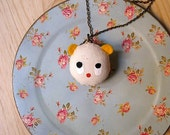 SALE - CREAM stuffie pendant. the friendly ghost handcrafted and painted stuffed necklace.