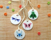 Pendant HAPPY Masks & Bugs- One of a Kind handmade necklace with natural cotton string