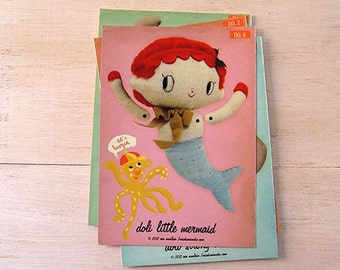 Mermaid paper doll. DIY cut out paper puppet featuring doli little mermaid. Moveable paper doll. Holiday DIY Craft Paper Cutout collectibles