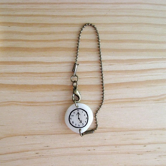 Fake watch with Antiqued Brass bead type chain bracelet. One-of-a-kind handmade Porcelain toy clock.