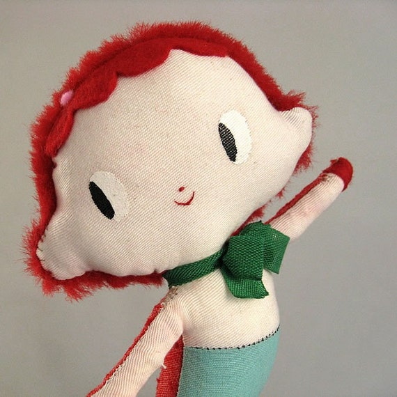 Lili the Mermaid Doll. One-of-a-kind handmade rag doll. GREEN Bow.