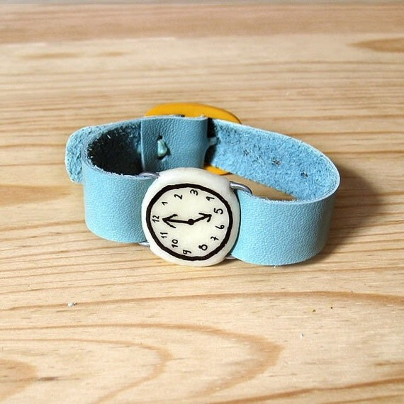 Baby Doll fake watch in BLUE AQUAMARINE. One-of-a-kind handmade Porcelain toy clock with recyclet leather watchband.