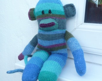 Sock Monkey Knitting Pattern - Toy Plush Animal Monkey - Sidney Sock Monkey