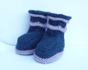 Knitting PATTERN BABY Booties - Wavy Baby Boots - INSTANT Download