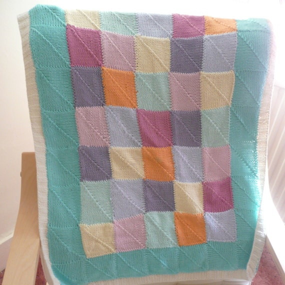 INSTANT DOWNLOAD Knitting PATTERN Pretty Patchwork Baby Blanket