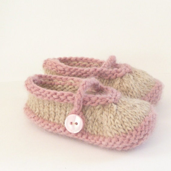 Baby Bootie Knitting Pattern Easy : Knitting PATTERN BABY Booties Simple Seamless Mary Janes