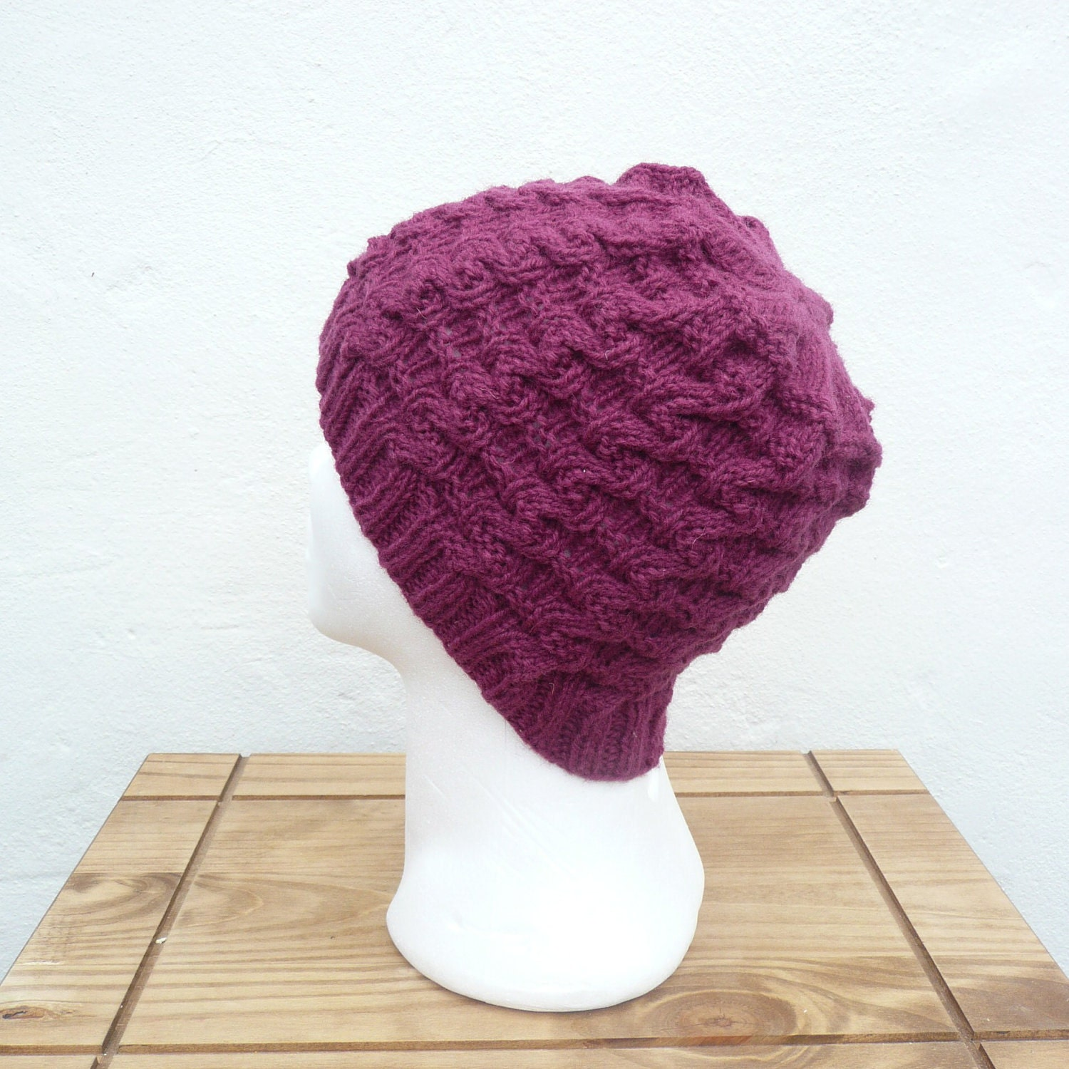 Knitting PATTERN HAT BEANIE Claret Wavy Cable Hat Instant