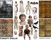 Creepy Dolls Halloween Collage Assemblage Backgrounds Vintage Photo Digital Sheet  ATC Mixed Media ACEO