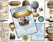 Up Up and Away Vintage Dirigible Airship Digital Collage Sheet ATC Mixed Media ACEO Backgrounds Altered Art