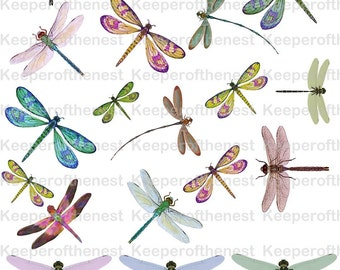 Dragonfly Digital Collage Sheet Mixed Media  Altered Art Instant Digital Download ACEO