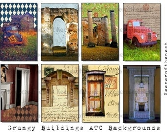 Grungy Buildings 2 ATC Backgrounds Digital Collage Sheet Mixed Media ACE0 Altered Art Instant Digital Download