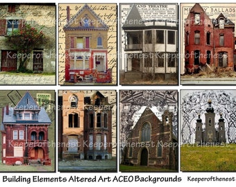 Building Elements Altered Art ACEO Backgrounds Digital Collage Sheet Mixed Media ATC Instant Digital Download