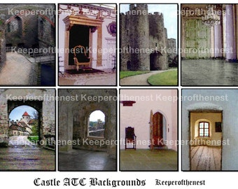 Castle Whimsy ACEO Backgrounds Digital Collage Sheet Altered Art ATC Mixed Media Instant Digital Download
