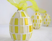 Sunshine yellow hanging mosaic eggs - Set of 3
