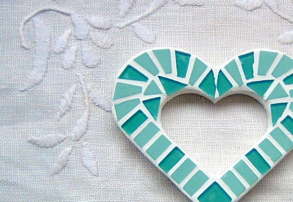Seafoam Green Love Heart Mini Wall Art Mosaic By Sigmosaics