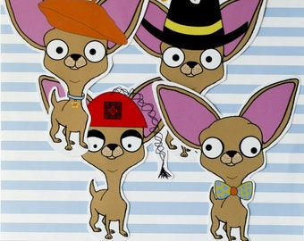 Chihuahua Sticker Set With Themed Hats