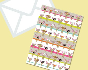 Chihuahua Dog Repeat Pattern Stripped blank greeting card With Coordinating Envelope in Bright Tones