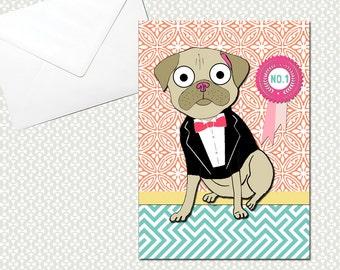 Pug Tuxedo Card No. 1