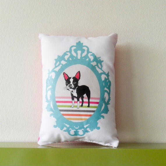 SALE - Boston Terrier Mini Pillow Cushion Featuring Vintage Picture Frame