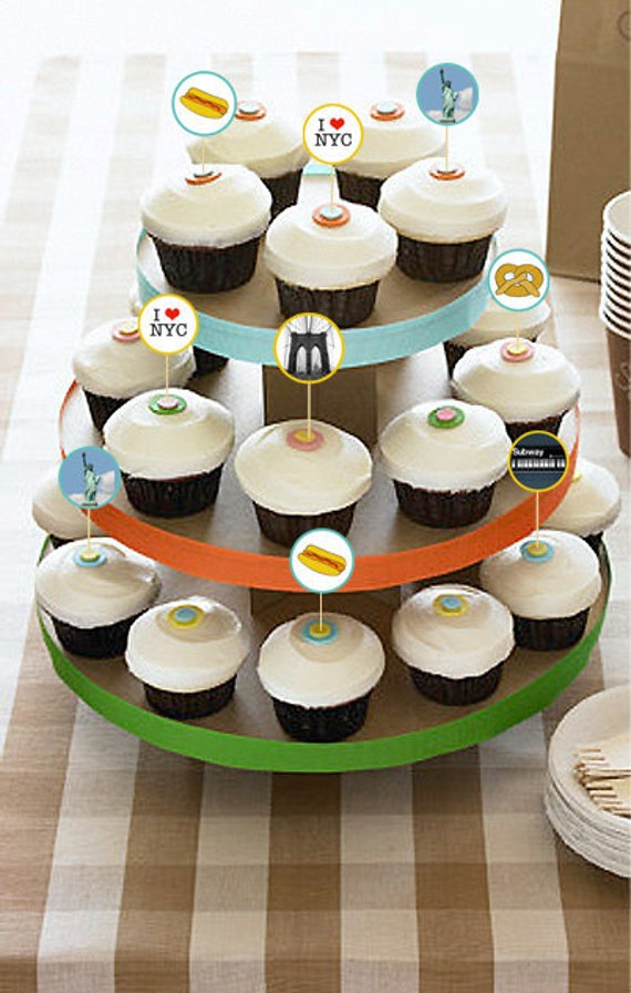 New York Themed Cupcake Toppers Set Of 12 Cupcake Picks Flags