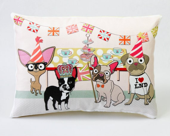 Dog Street Party Cushion London