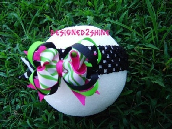 Funky ZEBRA pink and green boutique hair bow..ONE DOLLAR SHIPPING