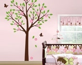 Tree with Flowers and Butterflies Nursery Vinyl Wall Decal, Kids Room Sticker, Tree decal nursery room decor baby decal children
