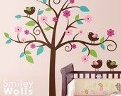 Whimsical Flower Tree Wall Decal, Tree with Love Birds Decal, Nursery Vinyl Wall Decal Art Decor,Tree Wall Decal for Nursery, Tree Sticker