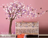 Cherry Blossom Tree Wall Decal Cherry Blossom Wall Decal Flower Tree Wall Decal Butterflies in the Wind Wall Decal Nursery Kids Vinyl Art
