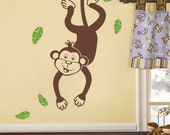 Monkey Wall Decal Vinyl Wall Decal for Kids, Jungle Monkey Swinging from a Branch, Jungle Wall Decal, Safari Wall Decal, Branch and Monkey