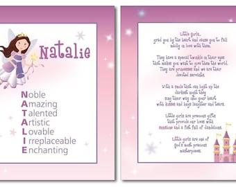 Fairy Nursery Prints, Fairy Nursery Wall Art, Castle Nursery Prints, Kids Wall Art, Personalized Wall Art, Name Poem Girls Prints